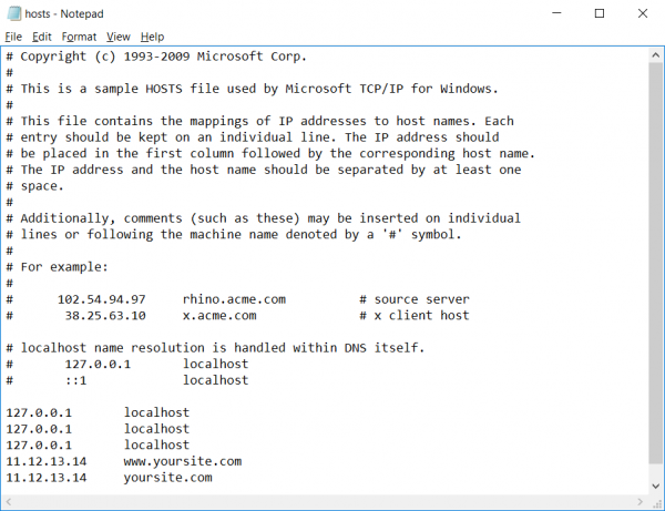 Screenshot of notepad in Windows 10 editing Hosts file