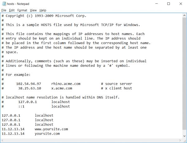 Screenshot of notepad in Windows 10 editing Hosts file