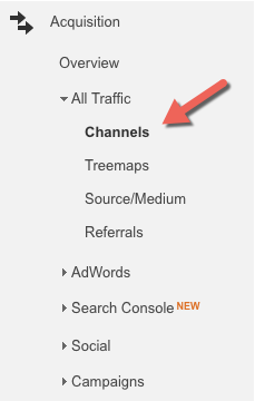 Where to find the channels report in Google Analytics